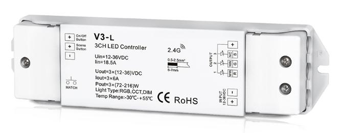 Multifunctional LED Controller:Synchronous,single color/CCT/RGB, multiple zone 12-36V